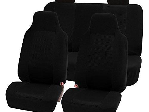 FH Group FB071115-SEAT Travel Master Seat Covers Airbag Ready & Rear Split, Gray/Black Black-Full