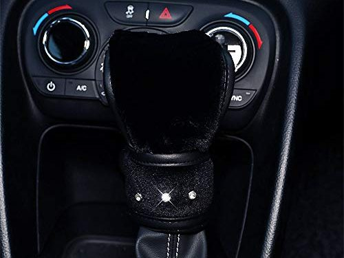 Cover for Gear Lever Black – QIMEI Universal Car Steering Wheel Cover Fluffy Size 38cm / 15″ Winter Plush Steering Wheel Cover Warm D