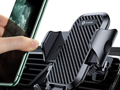 Andobil Car Phone Mount Ultimate Smartphone Car Air Vent Holder Easy Clamp Cradle Hands-Free Compatible for iPhone 11/11 Pro/ 11 Pro Max/ 8 Plus/8/X/XR/XS Samsung S10/S9/S8/Note 10/10+ Black