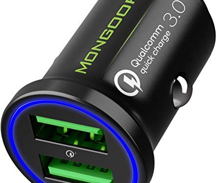 Compatible with Any iPhone – Qualcomm Quick Charge 3.0 Dual USB 6A/36W Fast Car Charger Adapter – 2019 Car Charger by MONGOORA – Two Ports QC 3.0 3A – Galaxy S10 S9 S8 S7 S6 Note LG Nexus Pixel etc.