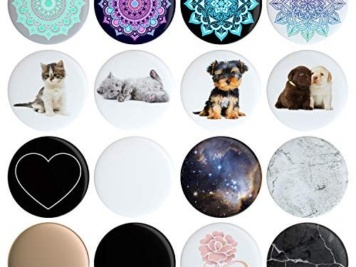 16 Swappable Covers Compatible with Original PopSockets PopSocket Sold Separately Put a Different Design On Your Pop Socket in 12 Seconds Removable Replacement Pack of 16 Tops, Caps, Disc Only