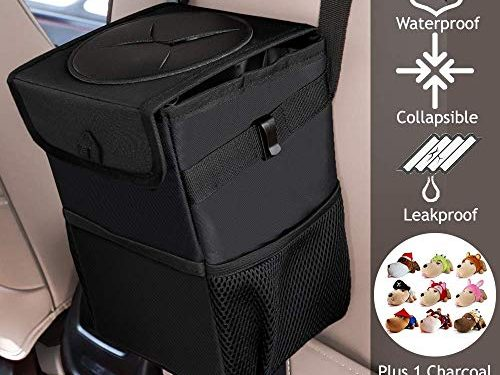 CARBONLAND Car Trash-Can with Storage Organizer Pocket Eco Friendly Washable Vehicle Trash Bag-Hanging and Leak Proof Garbage Bin with Charcoal Toy Dog Bag