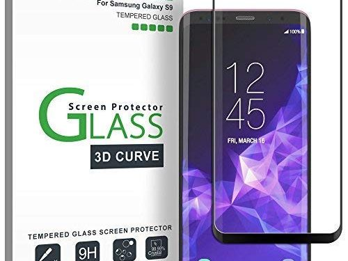 amFilm Glass Screen Protector for Samsung Galaxy S9, 3D Curved Tempered Glass, Dot Matrix with Easy Installation Tray, Case Friendly Black