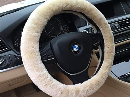 ANDALUS Car Steering Wheel Cover, Fluffy Pure Australia Sheepskin Wool, Universal 15 inch Pearl