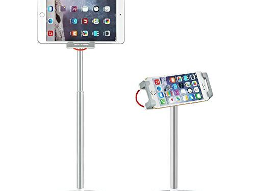 Saiji Tablet Stand Holder, Height Adjustable, 360 Degree Rotating, Aluminum Alloy Cradle Mount Dock for 4.7-12.9 inch iPhone Samsung, iPad, Nintendo Switch, Kindle, eBook Reader Silver