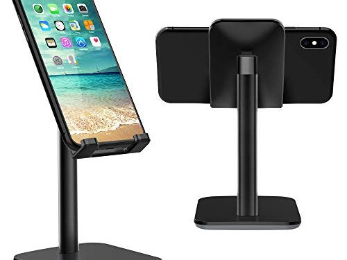 Nulaxy Adjustable Phone Stand, Upgraded Height Increasing Cell Phone Stand, Cradle, Dock, Desk Phone Holder Compatible with iPhone Xs Xr 8 X 7 6 6s Plus SE 5 5s 5c, All Smartphones – Black