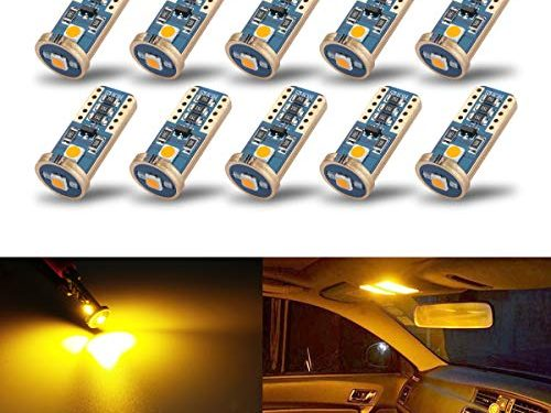 iBrightstar Newest Extremely Bright Wedge T10 168 194 LED Bulbs For Car Interior Dome Map Door Courtesy License Plate Lights, Amber