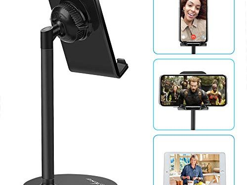 AONKEY Adjustable Cell Phone Stand, Desk Cellphone Holder Compatible with iPhone Xs Max XS XR X 6 6S 7 8 Plus, All Android Smartphone & Nintendo Switch & iPad& Other 7″-13″ Tablets