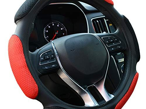 "FHQSX Auto Steering Wheel Cover Soft Hand Pad Cushion Slip-on Universal Fit 15"" / 38 cm Black&red"