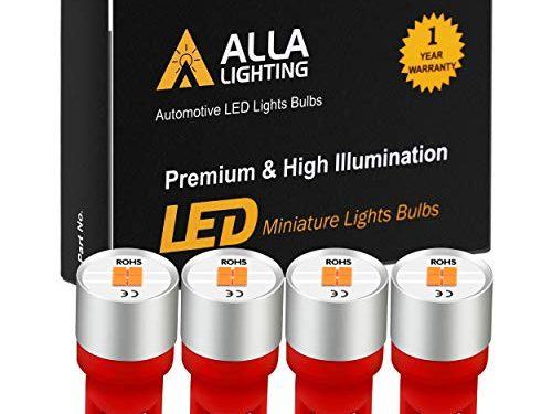 Alla Lighting Newest 194 LED Bulbs Extremely Super Bright T10 168 W5W 2825 175 158 CANBUS Replacement 12V 1616 SMD Car License Plate Light Interior Map Dome Door Lights, Pure Red
