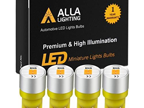 Alla Lighting Newest 194 LED Bulbs Extremely Super Bright T10 168 W5W 2825 175 158 CANBUS Replacement 12V 1616 SMD Car License Plate Light Interior Map Dome Door Lights, Amber Yellow