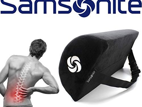 Samsonite SA6018  Half Moon Lumbar Support Pillow  Helps Relieve Lower Back Pain  100% Pure Memory Foam  Improves Natural Posture  Fits Most Seats  Premium Soft Plush  Adjustable Strap