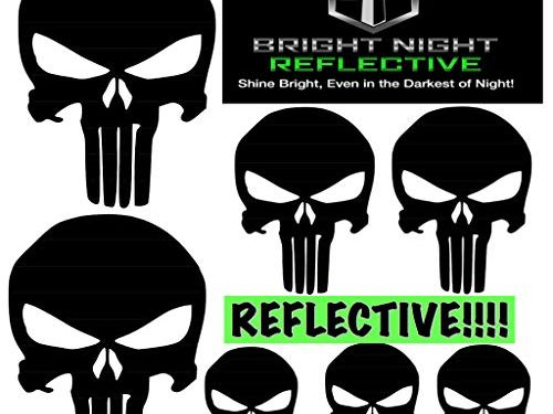 Punisher skull decal set, black reflective Two 2.25 x 3.25 plus 5 more! for helmets motorcycles cars guns