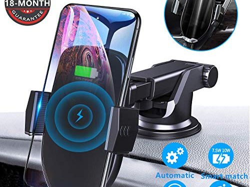Wireless Car Charger Mount, Letulu 10w 7.5w Auto Clamping Car Phone Charger,QI Fast Car Mount Wireless Charger, for Air Vent, Windshield, Compatible With iPhone 11 Pro/XMax/8, Galaxy S10/S9 More