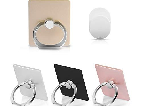 Phone Ring,4-Pack Phone Ring Holder,360 Degree Rotation Cell Phone Ring Holder with 5 Car Mount Hooks,Multi-Color Phone Ring Grip Compatible with All Most Smartphone and Other Device