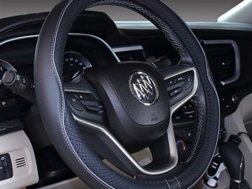 "2019 New Microfiber Leather Car Large and Small Steering wheel Cover 14""-14.25"", Black Gray"