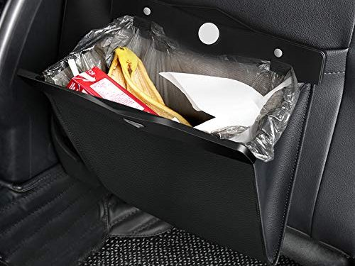 QUEES Car Trash Bag Magnetic Garbage Bag Auto Litter Car Bag Great for Cars Back Seat,Black