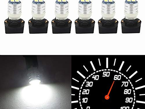 Wljh T10 Led Interior Lights Car Gauge Dashboard Dash Light Instrument Cluster Panel W5W 2825 194 Led Bulb Twist Socket Pc195 Pc194 Pc168 Super Bright 12V White,Pack Of 6