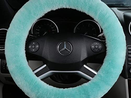 ANDALUS Car Steering Wheel Cover, Fluffy Pure Australia Sheepskin Wool, Universal 15 inch Mint Green