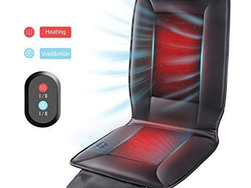 Naipo Car Seat Warmer and Cooler 2 in 1 Cushion Seat Cover with Heating and Ventilation Function and 3D Mesh PU Leather Portable Breathable Cover for Car Home Office Chair, All-Season Use