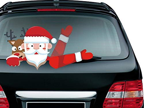 Meitinalife Christmas Santa and Reindeer Waving Wiper Decal for Rear Window 3D Cartoon Festive Car Sticker Vinyl Decal for Vehicle Rear Wipers Xmas Decoration
