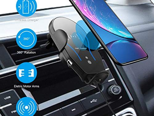 Techken Wireless Car Charger with Mount Automatic Smart Sensor Clamping Windshield Dashboard Air Vent Phone Holder Fast Charging Fit for iPhone 8 8PLUS iPhone X XR Xs