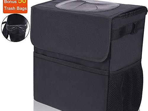 TNELTUEB Car Trash Can with Lid 3 Storage Pockets, 3.2 Gallon Large Capacity and Car Garbage Can with Odor Blocking Technology, 100% Waterproof Leak-Proof Vinyl Inside LiningFree 50 Trash Bags