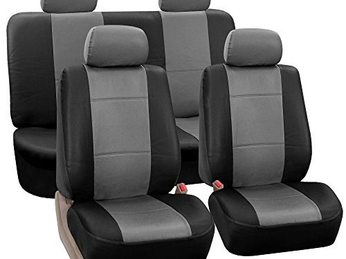 FH Group PU002114 Classic PU Leather Car Seat Covers Gray/Black, Airbag Compatible and Split Bench- Fit Most Car, Truck, SUV, or Van