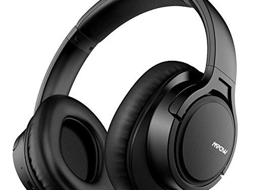 Mpow H7 Bluetooth Headphones Over Ear, 18 Hrs Comfortable Wireless Headphones w/Bag, Rechargeable HiFi Stereo Headset, CVC6.0 Headphones with Microphone for Cellphone TabletBlack