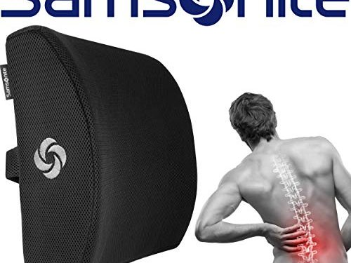 Breathable Mesh – Improves Posture – Ergonomic Lumbar Support Pillow – Adjustable Strap – Washable Cover – 100% Pure Memory Foam – Helps Relieve Lower Back Pain – Fits Most Seats – Samsonite SA5243
