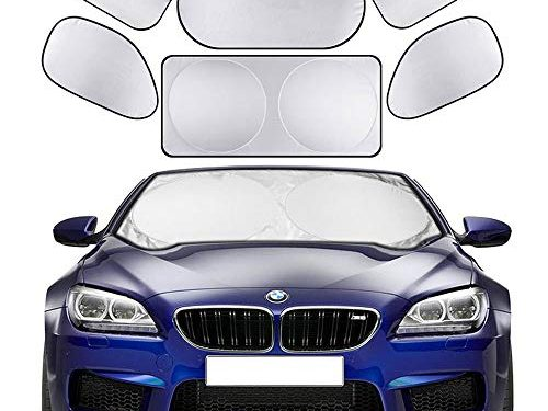 Cosyzone Windshield Sunshade 6 Pieces Car Sun Shade Side Rear Window Shades UV Rays Sun Visor Protector, Keeps Vehicle Cooler
