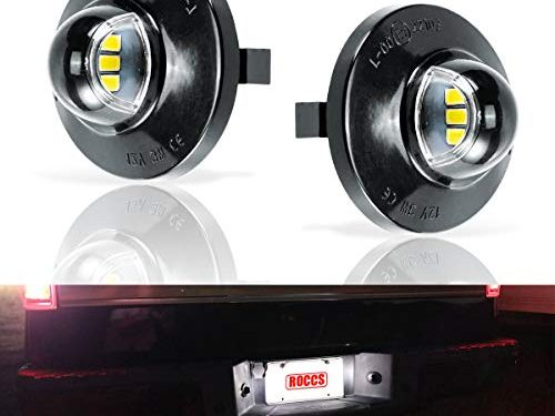 Error Free LED License Plate Light Lamp Assembly Replacement For Ford F-150 F-250 F-350 F-450 F-550 Superduty Ranger Explorer Bronco Excursion Expedition, White LED Lights