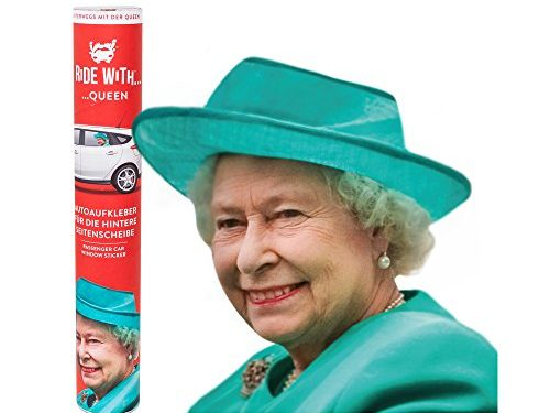 Thumbs Up UK Ride with Queen, Car Window Cling Left