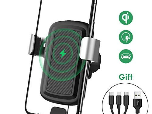 licheers Wireless Car Charger, Gravity Fast Wireless Charging Air Vent Car Phone Mount for iPhone Xs Max iPhoneX iPhone8 Samsung Galaxy S8, S8 Plus,S7 Edge, S6Plus, Note 8 Qi Certified Black