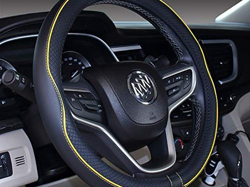 """Mayco Bell Microfiber Leather Car Small Steering wheel Cover 14""""-14.25"""", Black Yellow"""