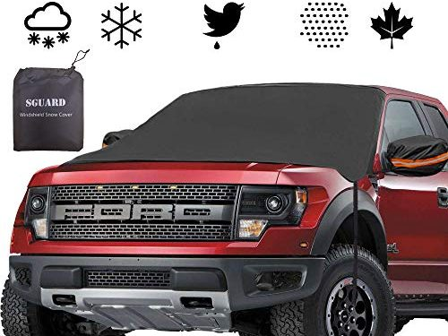 Car Windshield Snow Ice Cover, Universal Auto Windproof Magnetic WindshieldShield Cover Fits for Car, Truck, SUV, Van, Automobile All Weather Winter Summer- Self Storage Pouch