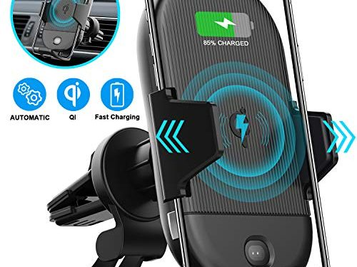 LETSCOM Wireless Car Charger, 15W Qi Fast Charging Car Mount Charger Automatic Clamping Air Vent Phone Holder Compatible with iPhone 11 Pro/11/X/8, Samsung S10/S10+/S9/S9+/S8/S8+