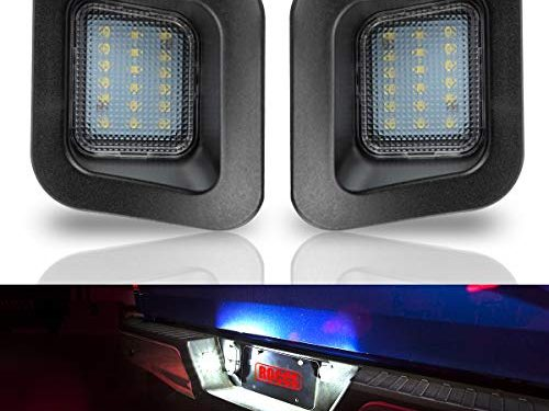 ROCCS LED License Plate Light Lamp Assembly Replacement For 2003-2018 Dodge RAM 1500 2500 3500 Pickup Truck, White LED Lights