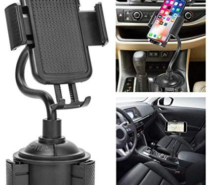 Cup Phone Holder for Car, Cell Phone Holder for Car Portable Cup Holder Phone Mount With Universal Adjustable Gooseneck for iPhone Samsung Galaxy and More Black