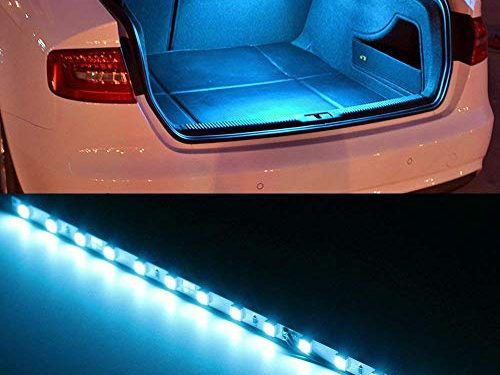 iJDMTOY 1 18-SMD-5050 LED Strip Light For Car Trunk Cargo Area or Interior Illumination, Ice Blue