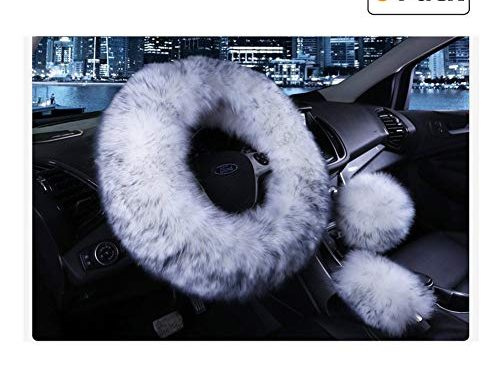 Younglingn Car Steering Wheel Cover Gear Shift Handbrake Fuzzy Cover 1 Set 3 Pcs Multi-colored with Winter Warm Pure Wool Fashion for Girl Women Ladies Universal Fit Most CarWhite + gray