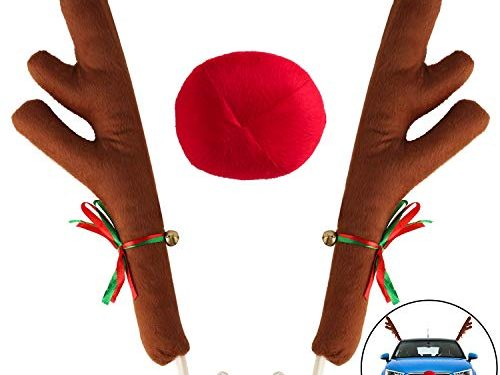 Car Decoration Christmas Antlers,Car Reindeer Antlers & Nose, Car Reindeer Clothing Kit-Full Set with 2 Antlers and 1 Reindeer Nose for Window Top and Front Grille Brown