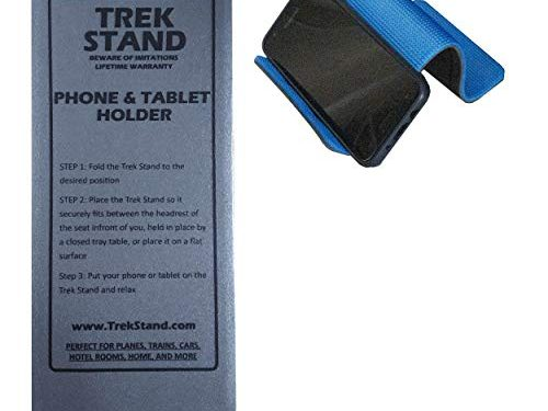 Trek Stand Hands Free Cellphone Holder & Tablet Stand for in-Flight Airplane, Cruise, Train Travel, Desk, Car, Bed, and Home   Universal for Mobile iPhone Android Cell Phone iPad Kindle Tablet