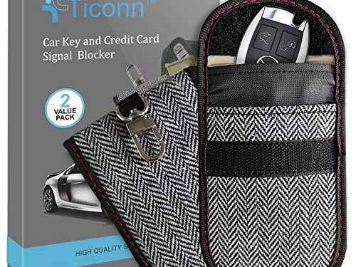 Car RFID Signal Blocking, Anti-Theft Pouch, Anti-Hacking Case Blocker Harris Tweed – Upgraded Faraday Bag for Key Fob 2 Pack, TICONN Premium Faraday Cage Protector