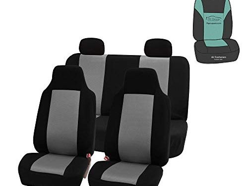 Universal Fit Most Car, Truck, SUV, or Van – with Gift – FH Group FB102114 Full Set Classic Cloth High Back Car Seat Covers, Gray/Black