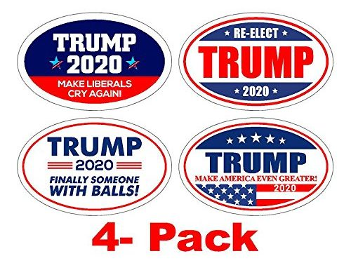 StickerPirate 4 PackOval Car Magnet Pro Donald Trump 2020 Make America Great Variety Pack