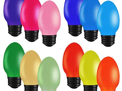 ZHSX Automotive Christmas Lights Magnet Set, 12 Pack Reflective Car Christmas Lights Bulb Shaped Holiday Car Decoration Magnet Set in A Variety of Colors for Outdoor Refrigerators or Mailboxes