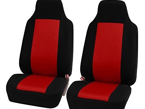 FH Group FB102RED102 Red Classic Cloth 3D Air Mesh Front Set Bucket Auto Seat Cover, Set of 2