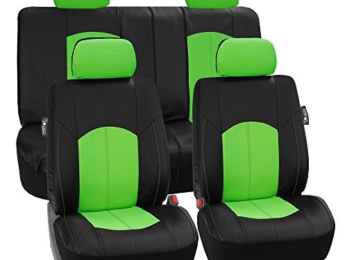 FH Group Limited TIME ONLY FH-PU008114 Perforated Leatherette Full Set Car Seat Covers, Airbag & Split Ready, Green/Black Color- Fit Most Car, Truck, SUV, or Van