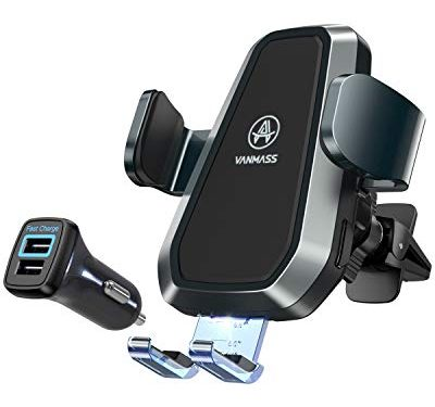 VANMASS Wireless Car Charger Mount, Upgraded Fast Charging, Automatic Clamping, Smart Sensor, Air Vent Phone Holder Compatible with iPhone 11 Xs Max XR 8 Plus, Samsung S10 S9 S8 Note 10, LG V30, etc